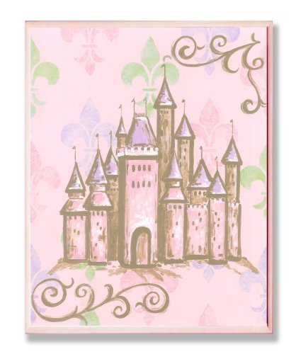 The Kids Room by Stupell Castle with Fleur de Lis on Pink Background Rectangle W