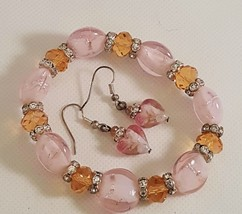 Pink Murano Glass With Champagne Crystal Beads Bracelet Set      - $14.50