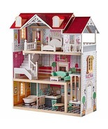 TOP BRIGHT Wooden Dollhouse with Furniture and Working Elevator Dream Do... - $99.94