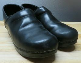Womens Dansko 39 EU Black Solid Leather Clogs Shoes Nursing - $34.64