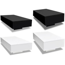 vidaXL Coffee Table MDF High Gloss Accent Tea Living Room Black/White 2 ... - €84,41 EUR