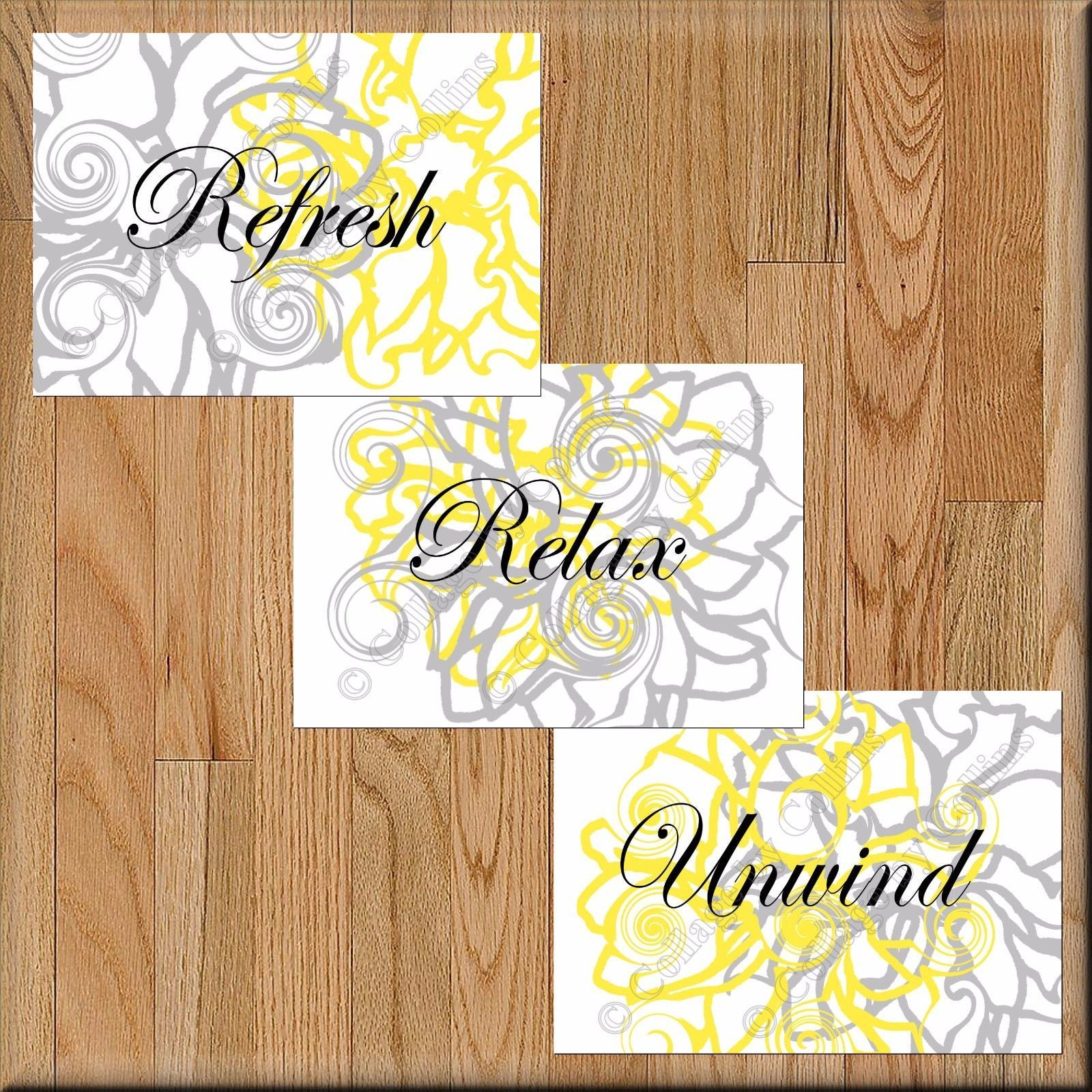 Primary image for Yellow Gray Bathroom Wall Art Pictures Prints Floral Decor Relax Refresh Unwind