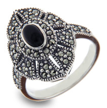 Onxy & Marcasite 925 Sterling Silver Ring » R42 - £17.40 GBP