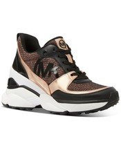 Michael Kors MK Women's Mickey Trainer Wedge Sneakers Shoes Rose Gold