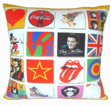 Pop art UK flag rock singer band bunny star love 2 side pillow cushion c... - £1.17 GBP