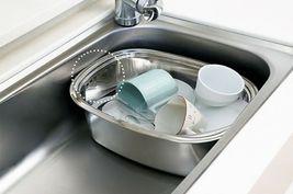 Kitchen Flower Stainless Steel Basin Dishpan Dish Washing Bowl Basket Rectangle image 5