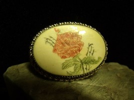 "PRETTY ANTIQUE CHROME BEZEL ETCHED ROSE ON CELLULOID 1 1/8"" BROOCH PIN - $21.78"