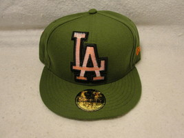L.A Dodgers Green cap/hat New Era 7 1/8 logo is red with pop up black an... - $12.30