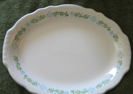 Homer Laughlin Restaurant Platter Blue Flowers Green Leaves 12 1/2 by 9 ... - $11.00