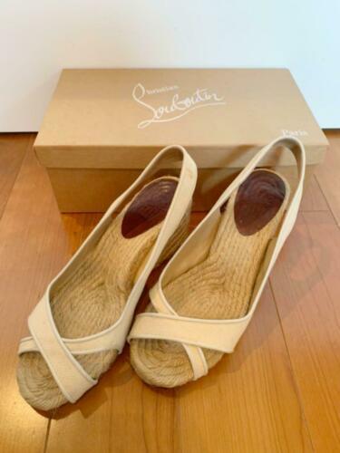 Christian Louboutin Espadrille US 7 Wedgesole Open Toe Sandals Fabric Rare USED