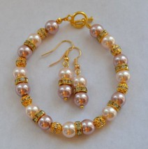 Handmade Pink Glass Pearl Earring and Bracelet Set - $14.50