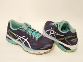 Asics GT-1000 5 Running Shoes T6A8N Navy-Aqua-Green-White Womens Size 9  - $33.62
