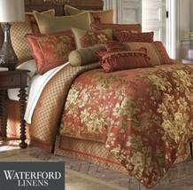 Waterford MACKENNA 5P Queen Duvet Cover shams Pillow Set Cinnabar Gold - $276.40