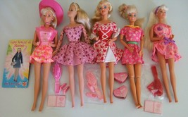 LOT OF 5 VALENTINE BARBIE DOLLS in ADORABLE HOLIDAY OUTFITS + BONUS ITEMS - $18.00