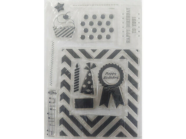 Happy Birthday Clear Stamp Set, Frame, Cupcake, Music Notes, and more