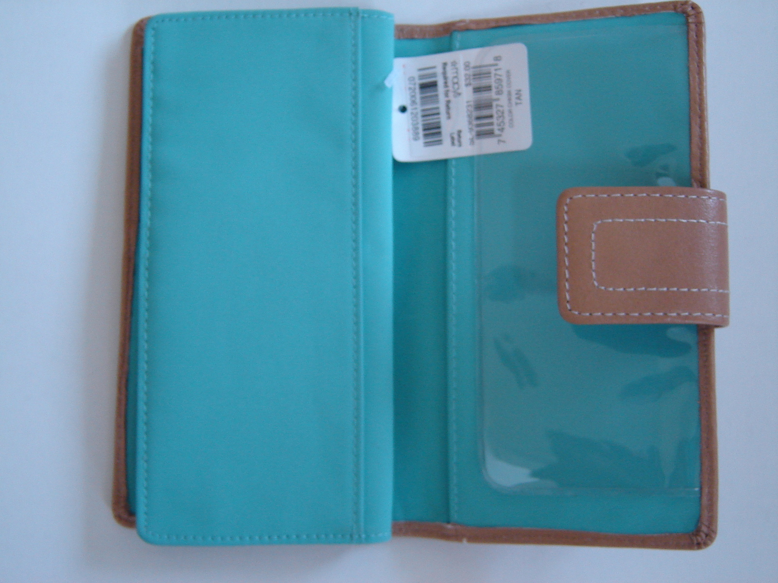 FOSSIL WOMEN'S WALLET CHECKBOOK CLUTCH GENUINE 100%LEATHER TAN SOLID NEW WI TAG.