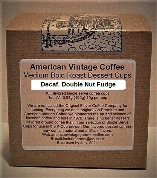 Primary image for Decaf. Double Nut Fudge flavored Dessert Coffee 10 Medium Bold K-Cups