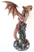 """Gifts & Decor Large 19.5"""" Tall Red Volcano Fira Dragon Roaring On Rock Cliff Sta - $109.99"""