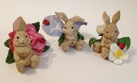 Bunny Rabbits Set of 3 Flowers Statue Figurines Painted Lady Bug Leaf Ea... - $42.00
