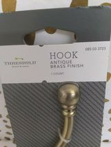 """Threshold Large Wall / Door - Hook Antique Brass Finish 5 3/4"""" -new in package- image 4"""