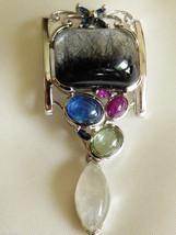 Sterling Silver 925 Arttist Signed Multi Gemstone Slide Pendant - $174.24