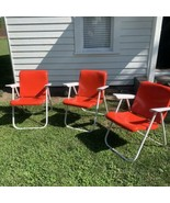RUSSEL WRIGHT Sampson 1250 MCM Vintage Folding Metal Lawn Chair Red, 3 A... - $197.01