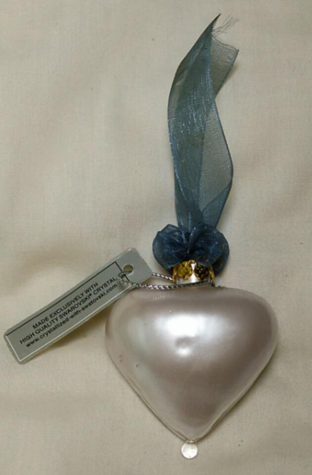 Hand Blown Heart Ornament Crystallized with Swarovski image 2