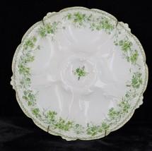 Antique Oyster Plate Haviland Limoges Green Floral CFH/GDM France CH Field - $224.99