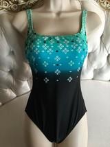 GOTTEX BLUE 1 Piece Tank Swimsuit Sz 6 -Style 3CO-173 Black Multicolored... - $43.00