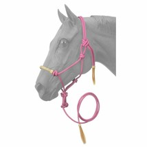 PINK TOUGH-1 HORSE SIZE RAWHIDE NOSEBAND POLY NYLON ROPE HALTER W/ LEAD ... - $23.95
