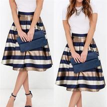 Women's Fashion Summer Casual Striped Maxi Bust Skirt Womens Slimming A Line Ple