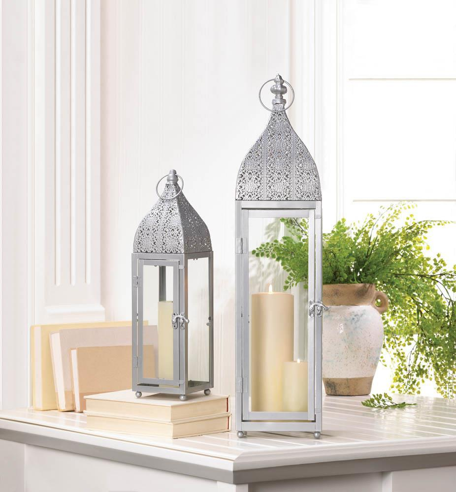 Set 6 Large Silver Moroccan Wedding Style Pilar Candle Lanterns