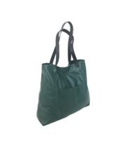 Green Leather Tote Bag with Black Handles, Shoulder Bag Purse, Yuritzy - $123.49