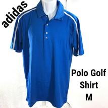 New adidas Golf Polo Shirt Medium Men Royal Blue Athletic Coolmax Climac... - $37.59