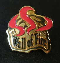 """Vintage """"Wall of Fire"""" Gold Tone Pin Scatter Badge Enamel Red Black RARE... - $12.00"""