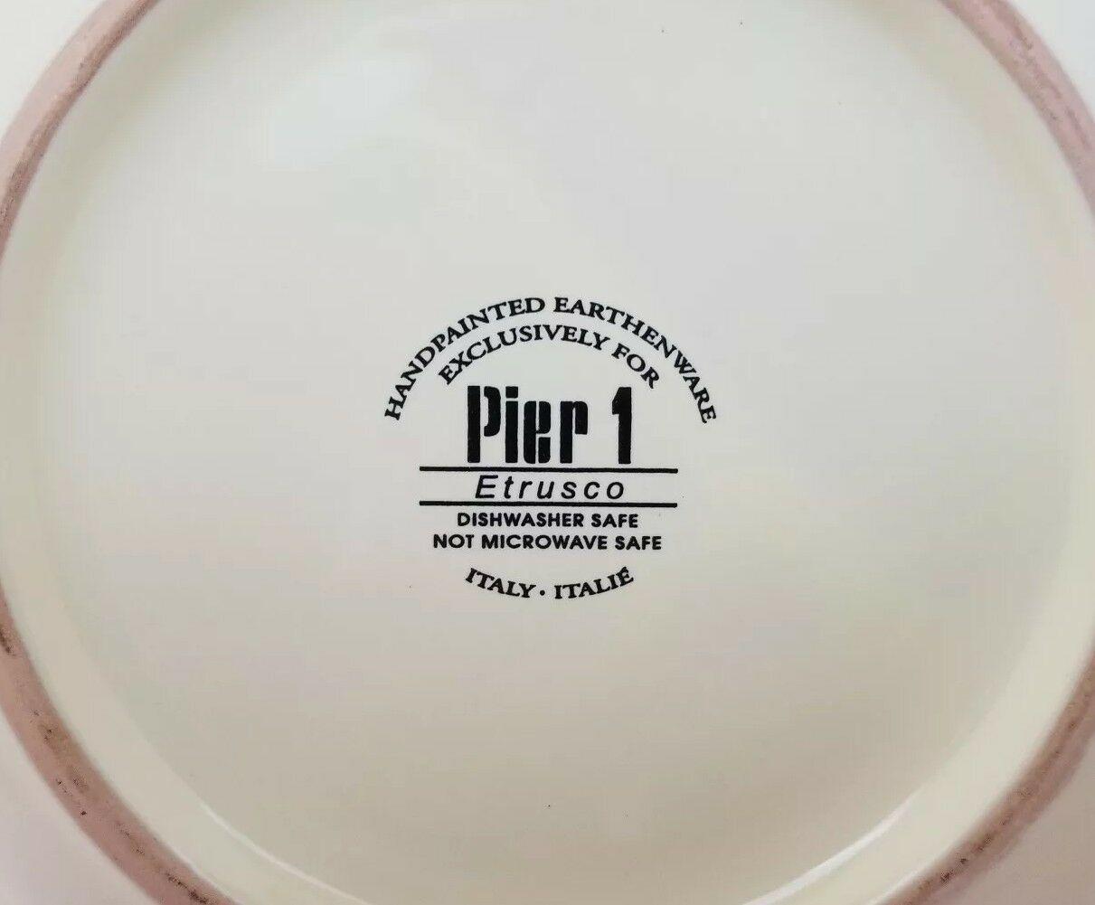"Pier 1 Etrusco 9.5"" Soup Pasta Bowl Handpainted Dishwasher Safe Made Italy image 3"