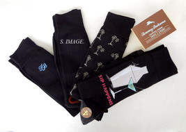 TOMMY BAHAMA Men's CASUAL CREW Socks SIP HAPPENS 4 Pairs Black OSFM - New! - $20.95