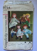 "Simplicity 15"" 24"" Girl Boy Rag Dolls Vintage 1964 Sewing Pattern Cut Co... - $6.85"