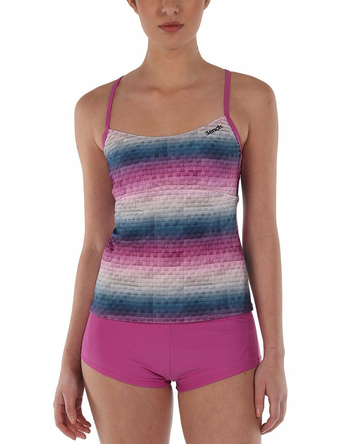 Bench UK Womens Mauve Pink Striped Paperweave 2 Piece Tankika Tankini Swim Wear