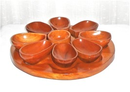 Wood Handcrafted Vintage Mid Century Snacks Nuts Candy Lazy Susan Servin... - €42,72 EUR