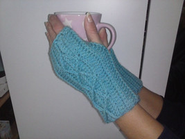Crochet Lightning Fast Fingerless Mitts In Torquise Color - $12.00