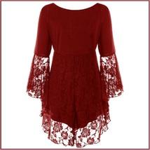 Wine Plus Size Gothic Lace Up Front Flare Sleeves Irregular Extended Lace Hem image 2