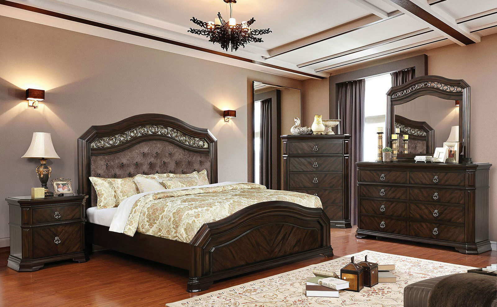 New traditional espresso brown bedroom furniture 5pcs - Espresso brown bedroom furniture ...