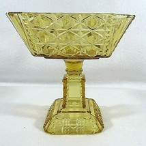 EAPG Adams & Co - Compote - VALENCIA Waffle - 1885-1891 - Amber - EVC - $33.66