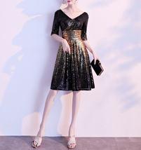 Knee Length Black Gold Sequin Dress Sleeved V Neck Sequin Dress Wedding Dress image 5