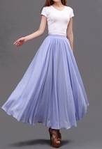 Lavender Purple Chiffon Skirt Women Chiffon Long Skirt Wedding Bridesmaid Skirts image 4