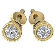 Beautiful Women's Stud Earrings 14k Yellow Gold Plated 925 Silver Round Cut CZ - $49.95