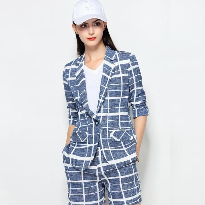 plaid blazer shorts suit 2020 new abstract printed short sleeve one button female office summer
