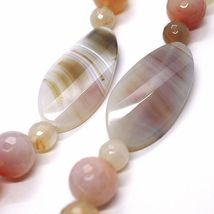Long Necklace 100 cm, 1 Meter Agate Red and Brown, Spheres Ovals, Double Thread image 4