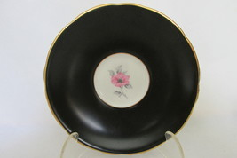 Vintage Royal Stafford English Bone China Cup & Saucer - Black with Pink Roses image 2